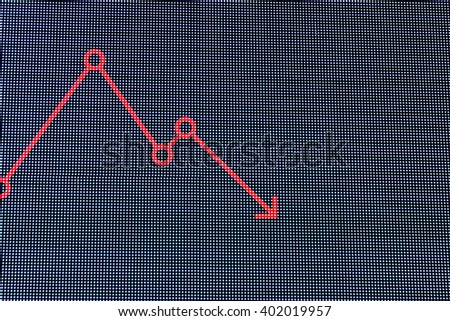 Red arrow slump chart on LED screen display. Business Concept. - stock photo
