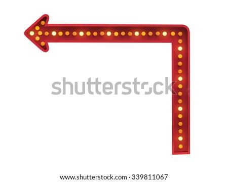red arrow with light bulbs - stock photo