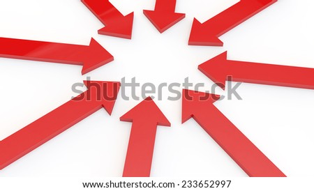 red arrows on a white background specify in the center of the image - stock photo