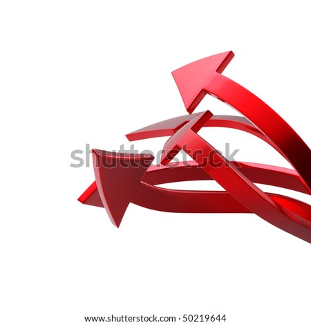 Red arrows on white background isolated - stock photo