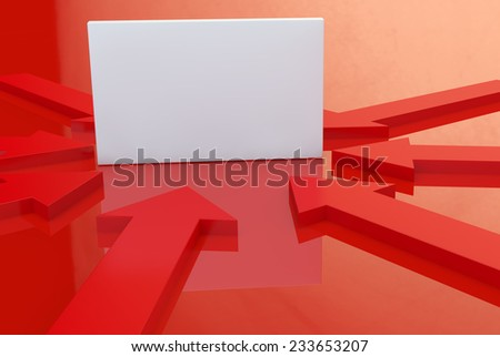 red arrows point to a white advertising board - stock photo