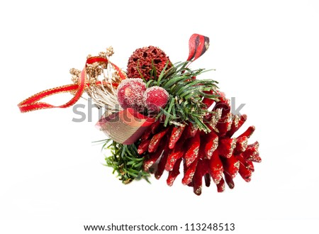 Red artificial Christmas cone on white background - stock photo