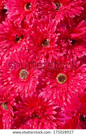 red artificial flowers for background - stock photo