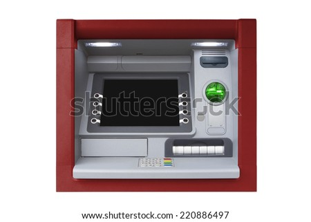 Red ATM with Blank Screen isolated on white background - stock photo