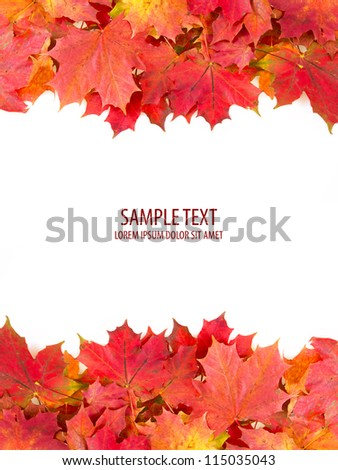 red autumn leaves frame with space for your text - stock photo