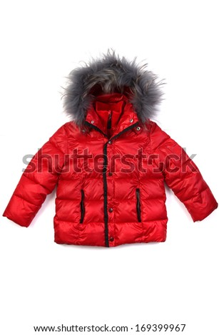 Red baby or toddler puffer - stock photo