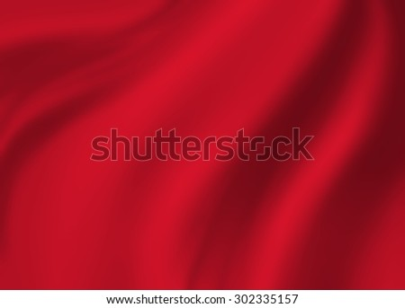 red background cloth illustration. Wavy folds of silk texture material. - stock photo