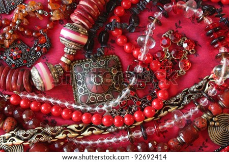 Red background - Jewelry - stock photo