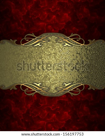 Red background with a gold sign with gold trim. Design template - stock photo