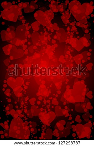Red background with hearts - stock photo