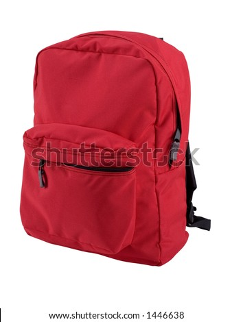 Red backpack expertly outlined and ready to drop into your design. Other angles of this same backpack also available. - stock photo