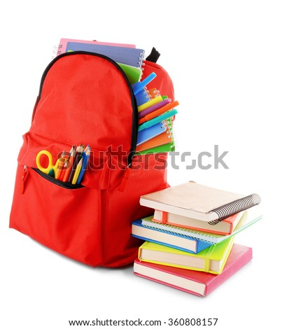 Red backpack with colourful stationary and books isolated on white background - stock photo