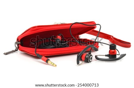 Red bag for headphones isolated on white background - stock photo