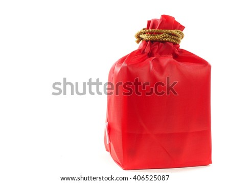 "Red bag isolate background ""Fu"" meaning ""wealthy and Money"" symbolic on Chinese  used in Chinese New Year - stock photo"