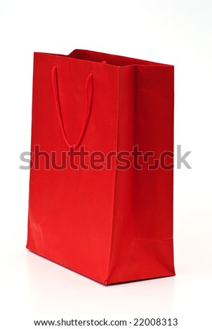 red bag isolated on white - stock photo