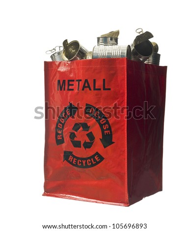 Red bag with metal recycling - stock photo