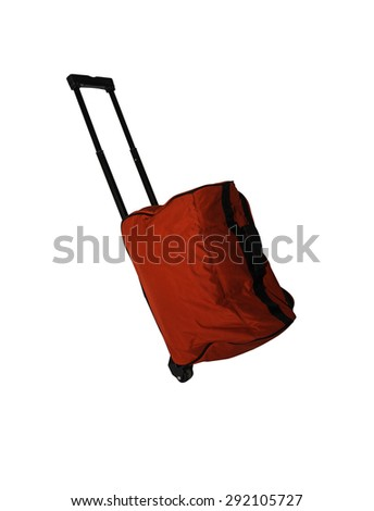 Red baggage on white isolate with clipping path for decorate project. - stock photo