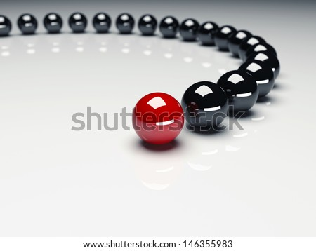 Red ball ahead of black balls. Conception of leadership. 3d render - stock photo