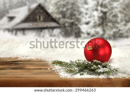 red ball and green natural tree  - stock photo