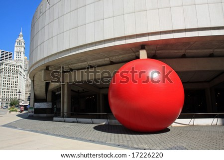 Red Ball comes to downtown Chicago - stock photo
