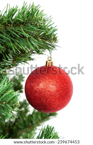 Red ball on the branch of a Christmas tree, isolated on white background. - stock photo