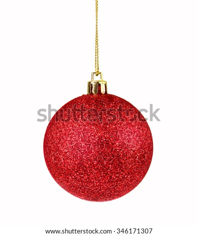 Red ball on white background , holiday object - stock photo