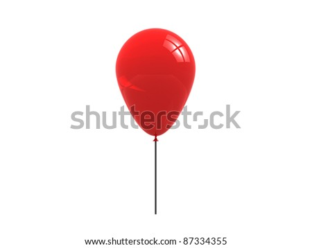 Red balloon isolated on white. 3d render - stock photo