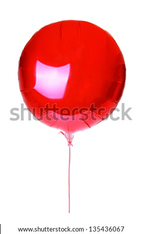 red balloon round with a string for Valentine's Day  isolated on white background - stock photo