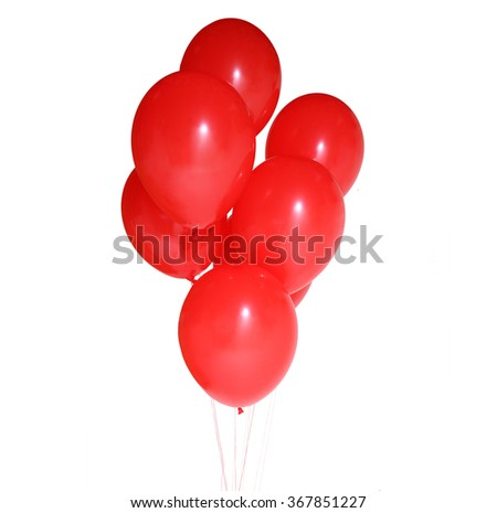 Red balloons isolated on white background - stock photo