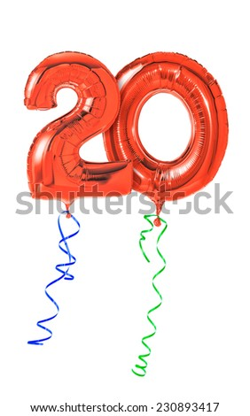 Red balloons with ribbon - Number 20 - stock photo
