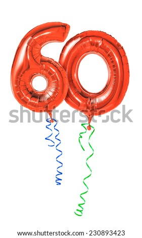 Red balloons with ribbon - Number 60 - stock photo