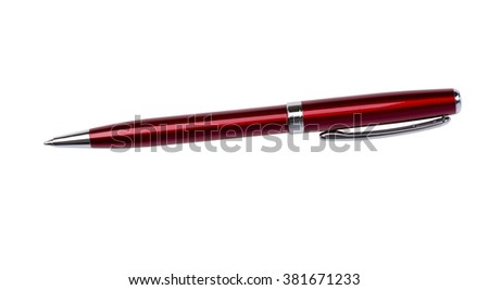 Red ballpoint pen on a white background - stock photo