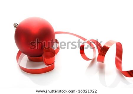 Red balls - Christmas decoration - stock photo