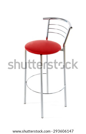red bar chair on isolated background - stock photo