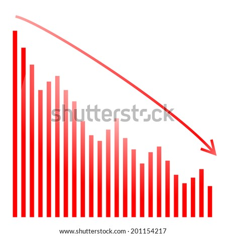 red bar graph and bright - stock photo