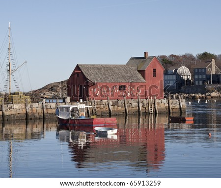 Red barn at Rockport, MA - stock photo