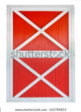 Red barn door isolated on white background - stock photo
