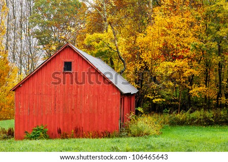 Red barn in autumn, with a background of colorful trees and fall leaves - stock photo