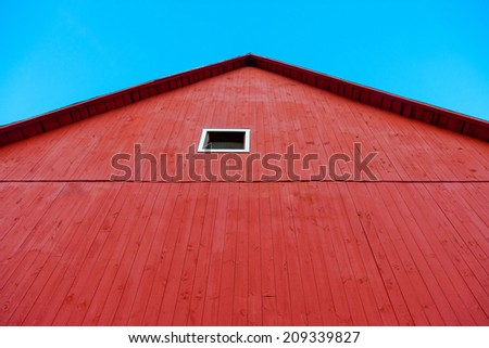 Red barn, Stowe, Vermont, USA - stock photo