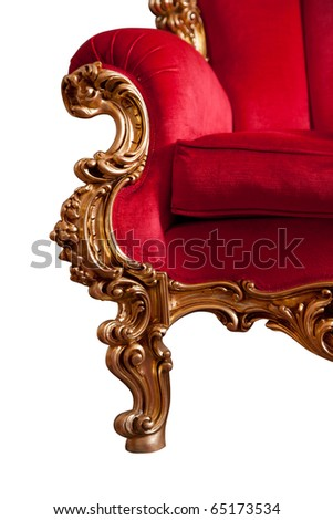 Red baroque sofa, isolated on white - stock photo