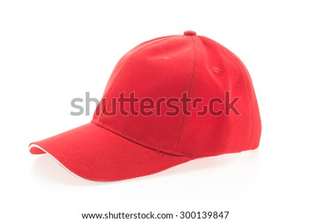 Red baseball cap isolated on white background - stock photo