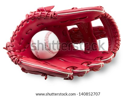 red baseball glove hold a ball - stock photo