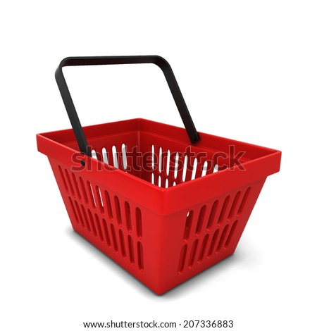 Red basket. 3d illustration isolated on white background  - stock photo