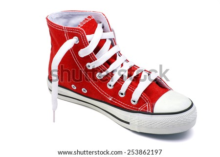 Red basketball shoe on a white background - stock photo
