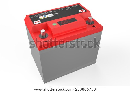 red battery car isolated on white background - stock photo