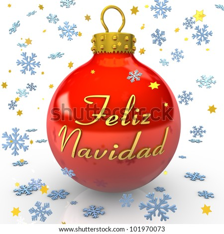 """Red bauble with text Feliz Navidad"""" , snowflakes and stars on the white background - stock photo"""