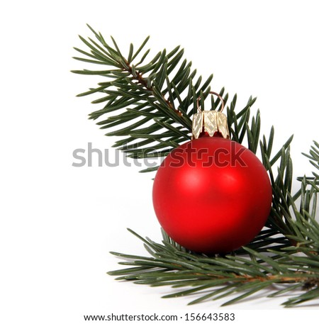 Red bauble with the twig of the spruce on the white background - stock photo