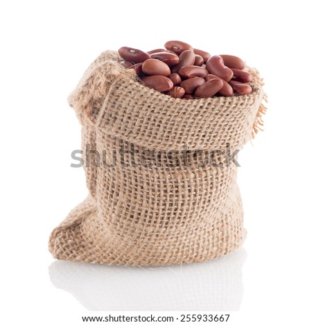 Red beans bag isolated on white background. - stock photo