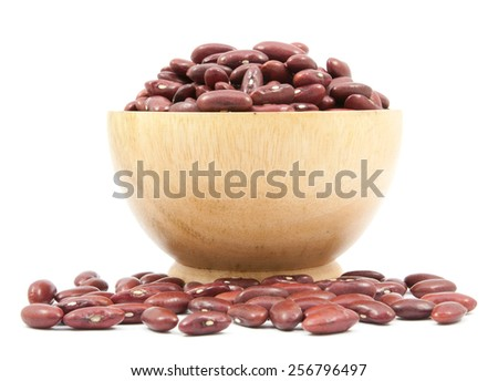 Red beans cup  on wood cup isolated on a white background - stock photo