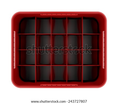 Red beer crate isolated on white background, top view - stock photo